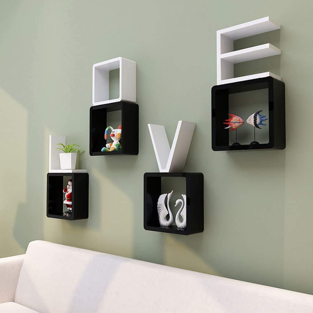 Worthy Shoppee Creative Romantic Love Design Wall Shelf For Bedroom Combination Shelf Decorative Frame Living Room Wall Shelves Size 21x21x21 Cm Size 21x21x21 Cm Black White Amazon In Home Kitchen