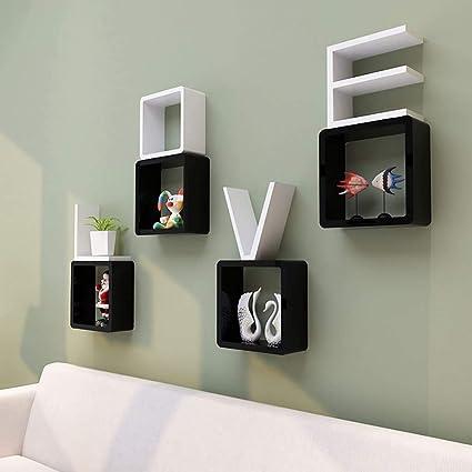 Worthy Shoppee Creative Romantic Love Design Wall Shelf For Bedroom Combination Shelf Decorative Frame Living Room Wall Shelves Size 21x21x21 Cm Size 21x21x21 Cm Black White Amazon In Home Kitchen