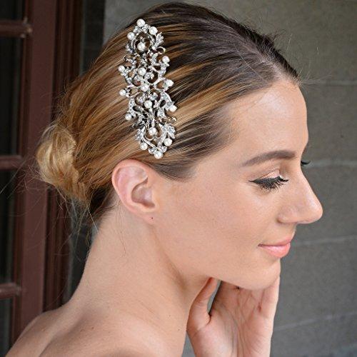 EVER FAITH Wedding Royal Pattern Simulated Pearl Hair Comb Clear Austrian Crystal