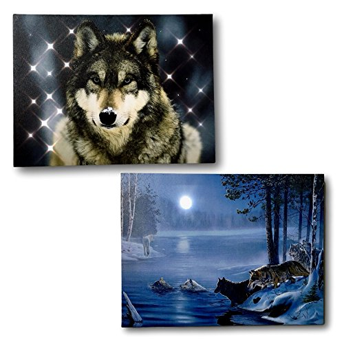 BANBERRY DESIGNS Wolf Prints - Set of 2 Lighted Wolfe Pictures with LED and Fiber Optic Lights - Stretched Canvas Prints of a Winter Scene and Wolves - Wildlife Artwork