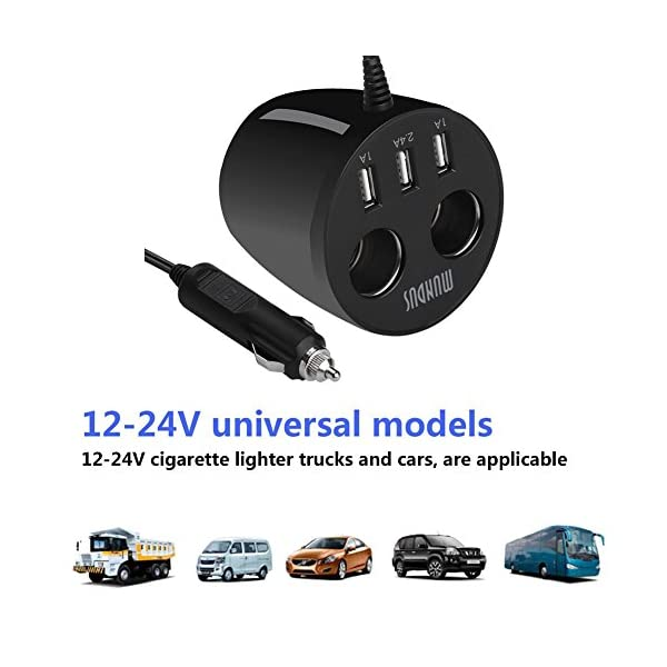 Car ChargerJMcolo 3 USB Ports With 2 Sockets Cigarette Lighter Cup Car Charger Power Adapter For Apple IPhone Android Windows Smartphones Tablets