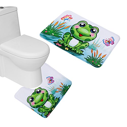 Amagical 2 Piece Cute Pattern Flannel Bathroom Mat Set ( Bathroom Mat + Toilet Contour Rug) (Frog) Frog Bathroom Decor