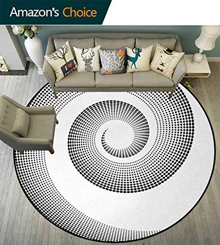 DESPKON-HOME Spires Round Rugs for Bedroom,Spiral Dimensional Curve Turns Around an Axis Rotary Parallel to Ring Center Design Image Circle Rugs for Living Room Round-35 -