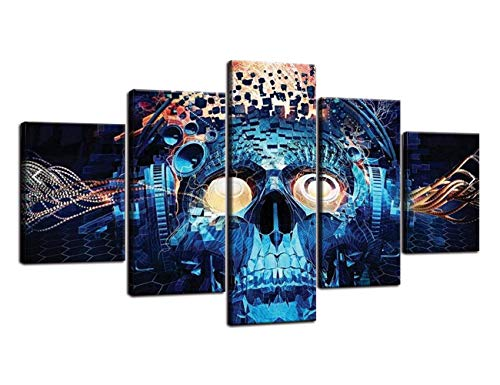Navy Blue Skeleton Painting on Canvas Face Projects Halloween decoration Wall Art ,Day of The Dead Pictures Figures Abstract Artwork Framed for Living Room 5 Panel Stretched Ready to Hang(60''Wx32''H) -