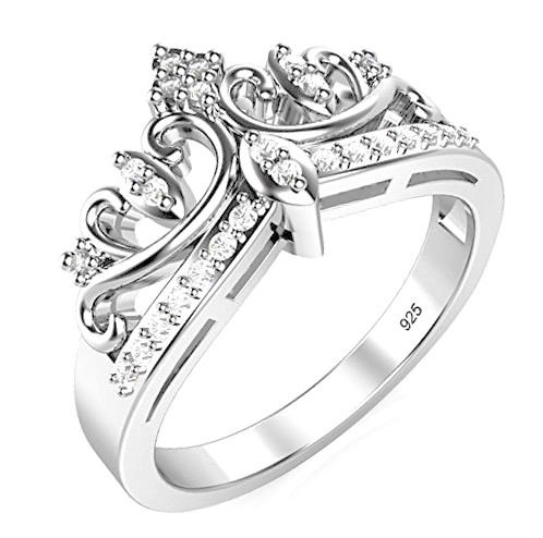 925 Sterling Silver Cubic Zirconia Princess Crown Tiara Wedding Cz Band Eternity Ring Size 9 (Crown Ring Sterling Silver compare prices)