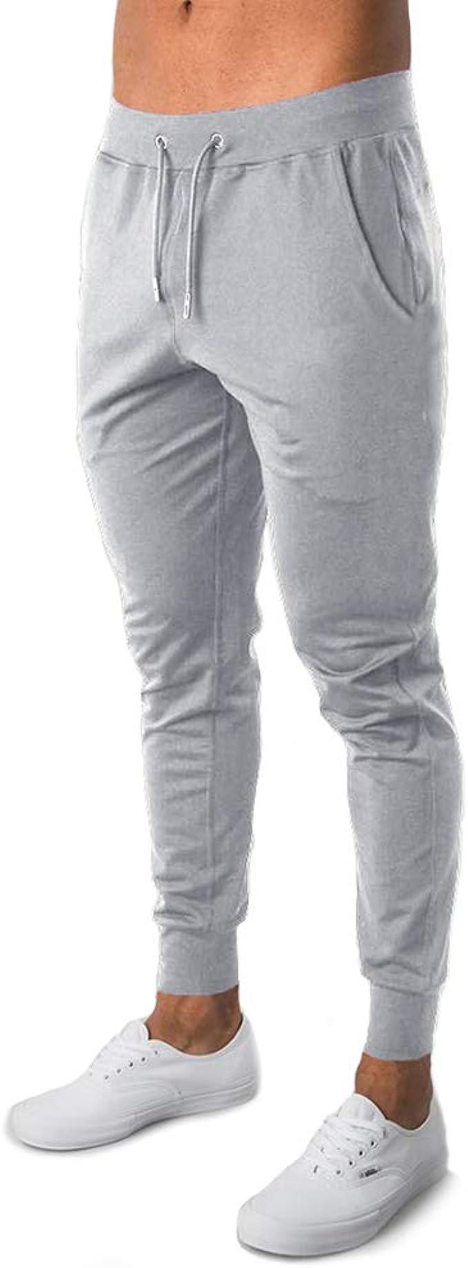 Frecoccialo Pantaloni da Jogging Uomo Cotone Sportivi Fitness Slim Fit Pantaloni della Tuta da Uomo con Coulisse Esercizio da Palestra