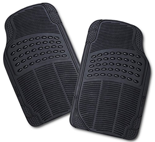 Zento Deals All Weather Rubber – 2 Piece Front Floor Mats Set Heavy Duty Car Trimmable Interior (Mats Front 2 Piece Auto)