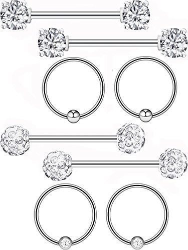 Gejoy 4 Pairs Stainless Steel Nipple Ring Captive Bead Ring Cubic Zirconia Tragus Cartilage Barbell Body Piercing