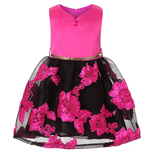 ZaH Cute Girl Summer Dresses Girls Vintage Dresses Graduation Dresses Sleeveless (Hot Pink, 5) ()