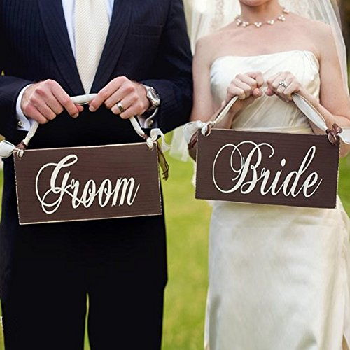 2B-better Bride & Groom Chair Bunting Banner Garland Wedding Decoration Wedding Photo Booth Props Hanging Letter Wooden Signs (Bride And Groom Signs)