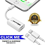 Dual Lightning Adapter Iphone Splitter for IPhone 6/7/8/X Plus pls, Giayouneer Double Port for Apple ios 10.3/11 Support Music Charging(Data/SYNC) Calling (White)
