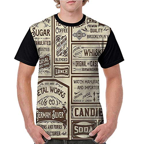 - Men Summer Streetwear,Vintage,Old Advertisement Retro S-XXL T Shirt Print Short Sleeve