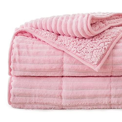 Lofus Sherpa Fleece Weighted Blanket, 15 lbs Ribbed Microfiber Heavy Blanket, Mink Stripe Throw Blanket, Reversible Fluffy Sherpa Super Soft Warm, 48 x 72 Inches, Pink