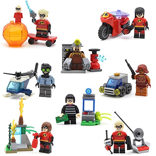 Incredibles Movie Themed Minifigures Set for gift or party favor cupcake topper or cake topper by Mapit