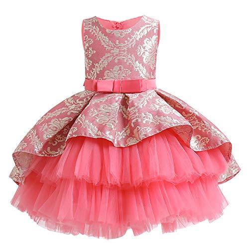 LZH Baby Girls Dress Flor Vintage Bordado Princesa Vestido elegante para fiesta de boda 1-8 años