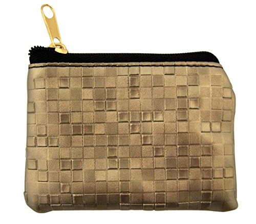 Mosaic Pattern Leather Zipper Rosary Pouch, 3 1/2 Inch (Pewter)