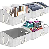 TomCare 4-Pack Storage Baskets Foldable Trapezoid Storage Box Fabric Cube Storage Box Storage Cubes with Cotton Rope Handles Cube Organizer Storage Containers for Living Room Bedroom Office (Grey)