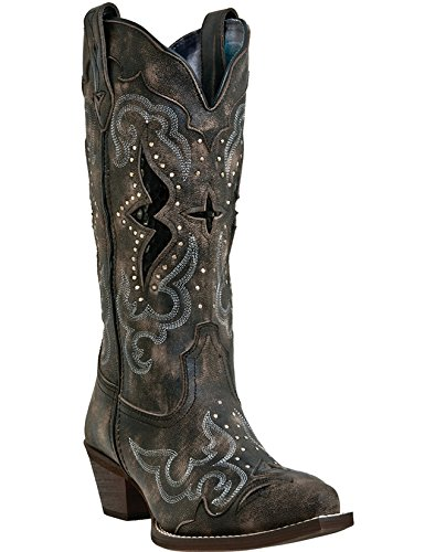 Laredo Womens Black/Tan All Leather Lucretia 13in Snip Toe Cowboy Boots 6.5 W by Laredo