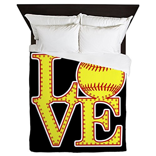 CafePress - Love Softball Stitches - Queen Duvet Cover, Printed Comforter Cover, Unique Bedding, Microfiber by CafePress