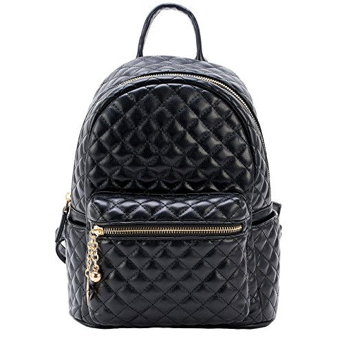 Leather Quilted Hat - Dream Control Quilted Textured Vegan Leather Mid Size Backpack Handbag Black
