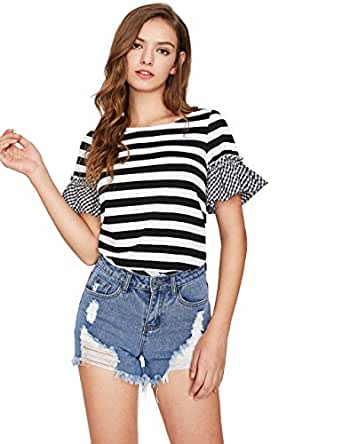 Floerns Women's Short Sleeve Summer Casual T Shirt Black and White XS