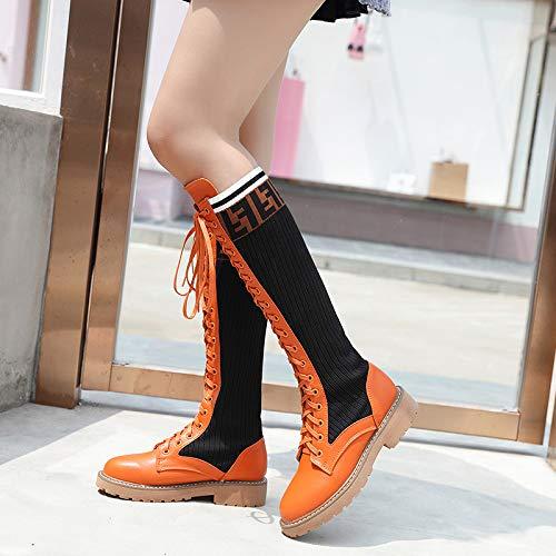ZHRUI Frauen-elastische Stiefel Kniehohe Schnürritter-Schuhe Schnürritter-Schuhe Schnürritter-Schuhe (Farbe   Orange, Größe   EU 37) 540267