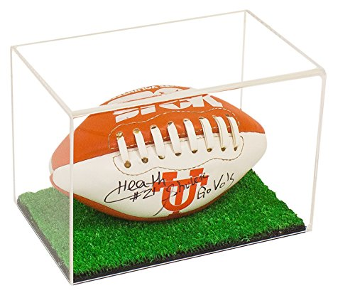 Miniature Football Display - Deluxe Clear Acrylic Mini - Miniature (not Full Size) Football Display Case with Turf Bottom (A005-CTB)