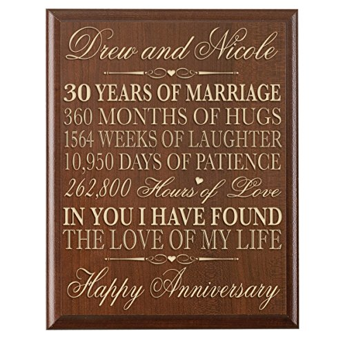Personalized 30th Wedding Anniversary Gift for Couple, Custom Made 30th Anniversary Gifts for Her,30th Wedding Anniversary Gifts for Him 12 Inches Wx 16 Inches H (Cherry) (30 Year Wedding Anniversary Gift Ideas Couple)