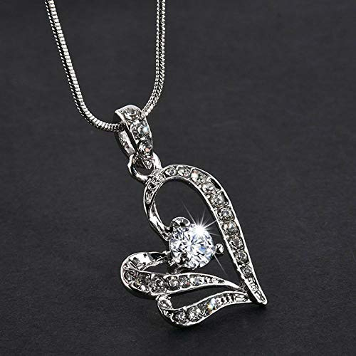 Fashion Jewelry Double Heart Chain Necklace Rhinestone Pendant Crystal