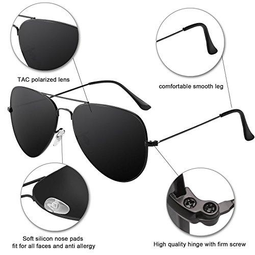 Livhò G Sunglasses for Men Women Aviator Polarized Metal Mirror UV 400 Lens Protection Black Grey