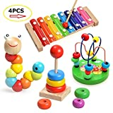 Laifaer Childrens Music Instruments Baby 4 Pieces Wood Toy with Xylophone, Caterpillar Beads, Pearl Labyrinth Toy and Rainbow Tower (color)