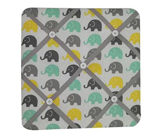 Bacati Elephants Unisex Fabric Memory/Memo Photo Bulletin Board, Mint/Yellow/Grey (Picture Ribbon Board Baby)