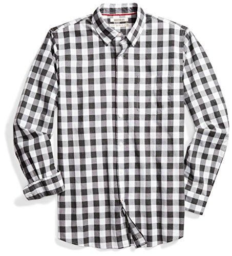 Goodthreads Men's Standard-Fit Long-Sleeve Gingham Plaid Poplin Shirt, White/Grey, Large