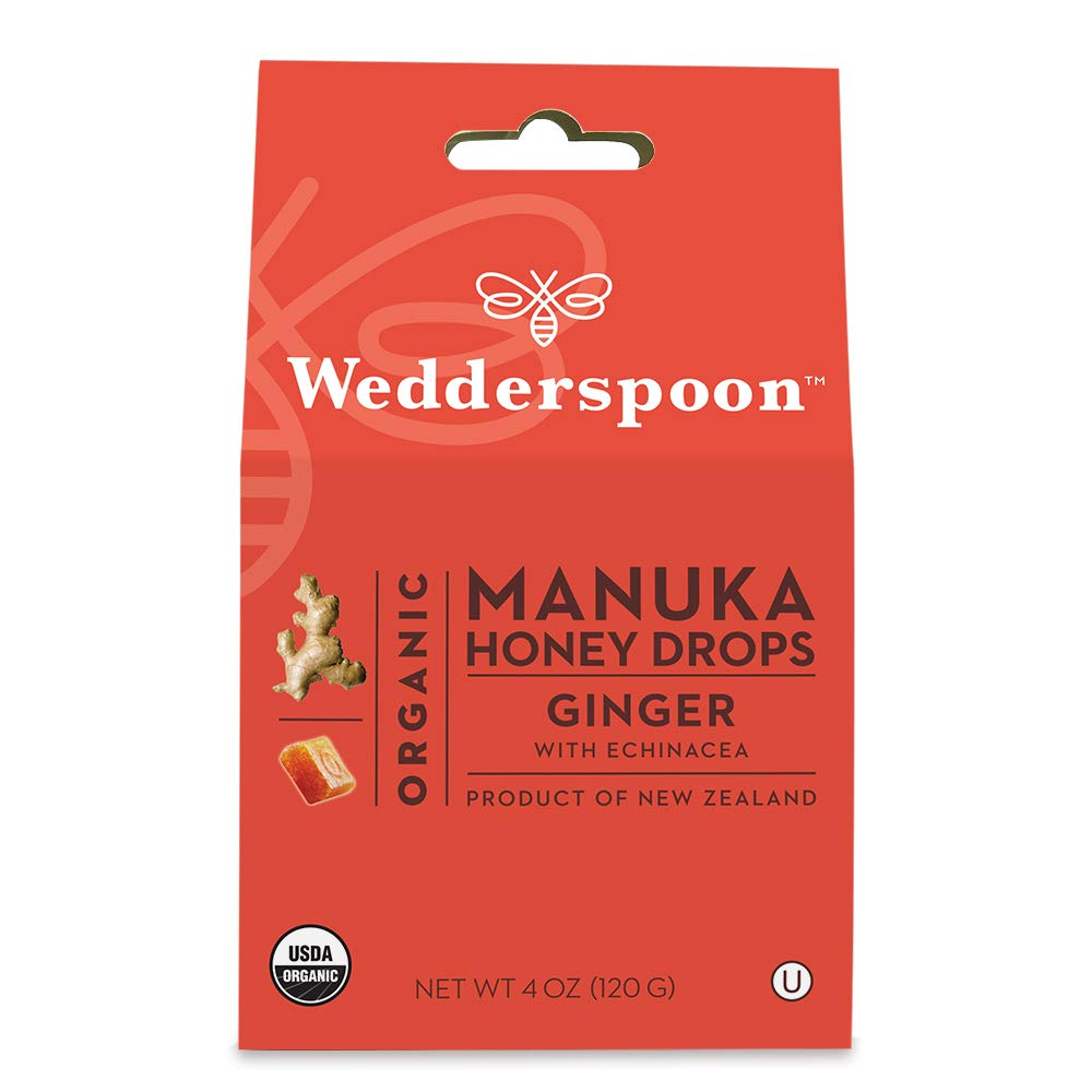 Wedderspoon Organic Manuka Honey Drops, Ginger + Echinacea, 4.0 Oz, Unpasteurized, Genuine New Zealand Honey, Perfect Remedy For Dry Throats by Wedderspoon