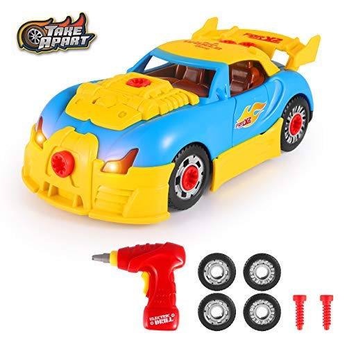 DAPRIL Take Apart Car Toys, Build Your Own Toy Car with 30 Pieces Constructions Set, with Realistic Sounds & Lights Creative Fun Kit Best Toy Gift for Kids Boys Girls