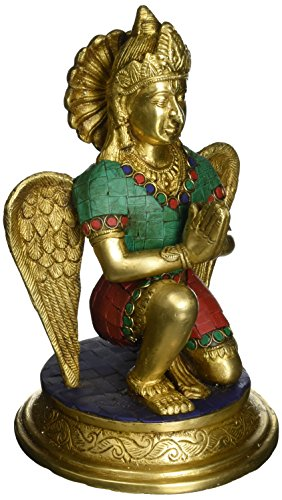 Aone India Garuda Statue- Holy Bird Figurine- Lord Vishnu Brass Decor- Hindu God Goddess Metal Sculpture + Cash Envelope (Pack Of 10) by AONE INDIA