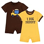 Wan-A-Beez Baby Boys' 2 Pack Graphic Short-Sleeve Romper - Yellow/Brown - Construction - 0/3 Months