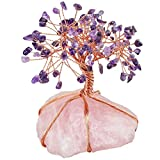 mookaitedecor Amethyst Crystal Tree, Raw Crystals Rose Quartz Base Bonsai Money Tree for Wealth and Luck