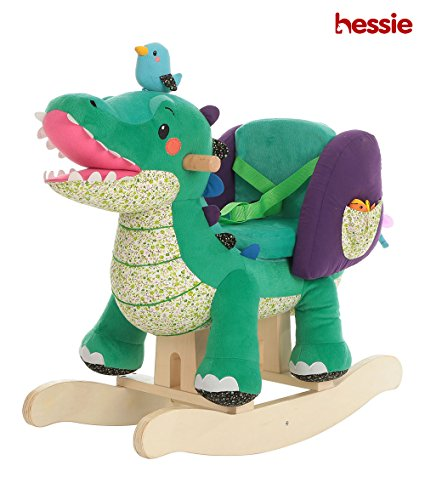 Hessie Modern Plush Rocking Horse with Soft Cute Stuffed Animal, Indoor Ride On Toys Rockers for Toddlers Kids Little Boys & Girls (6-36 Months) - Dark Green -