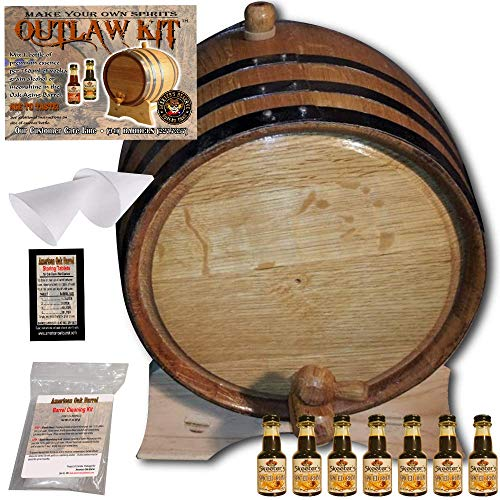 Barrel Aged Rum Making Kit - Create Your Own Spiced Rum - The Outlaw Kit from Skeeter's Reserve Outlaw Gear - MADE BY American Oak Barrel (Natural Oak, Black Hoops, 5 Liter)