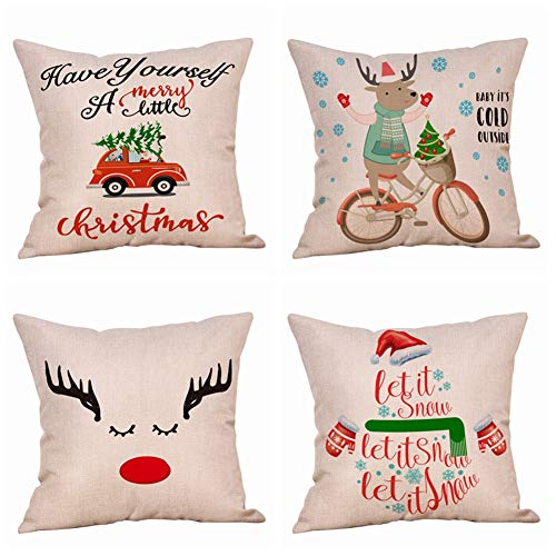 4 Pack Farmhouse Christmas Red Truck with Xmas Tree Throw Pillow Case Snowflake Santa Claus Reindeer Snowman Winter Greetings Decorative Cushion Covers Cotton Linen 18x18 Inch Holiday Sofa Home Decor