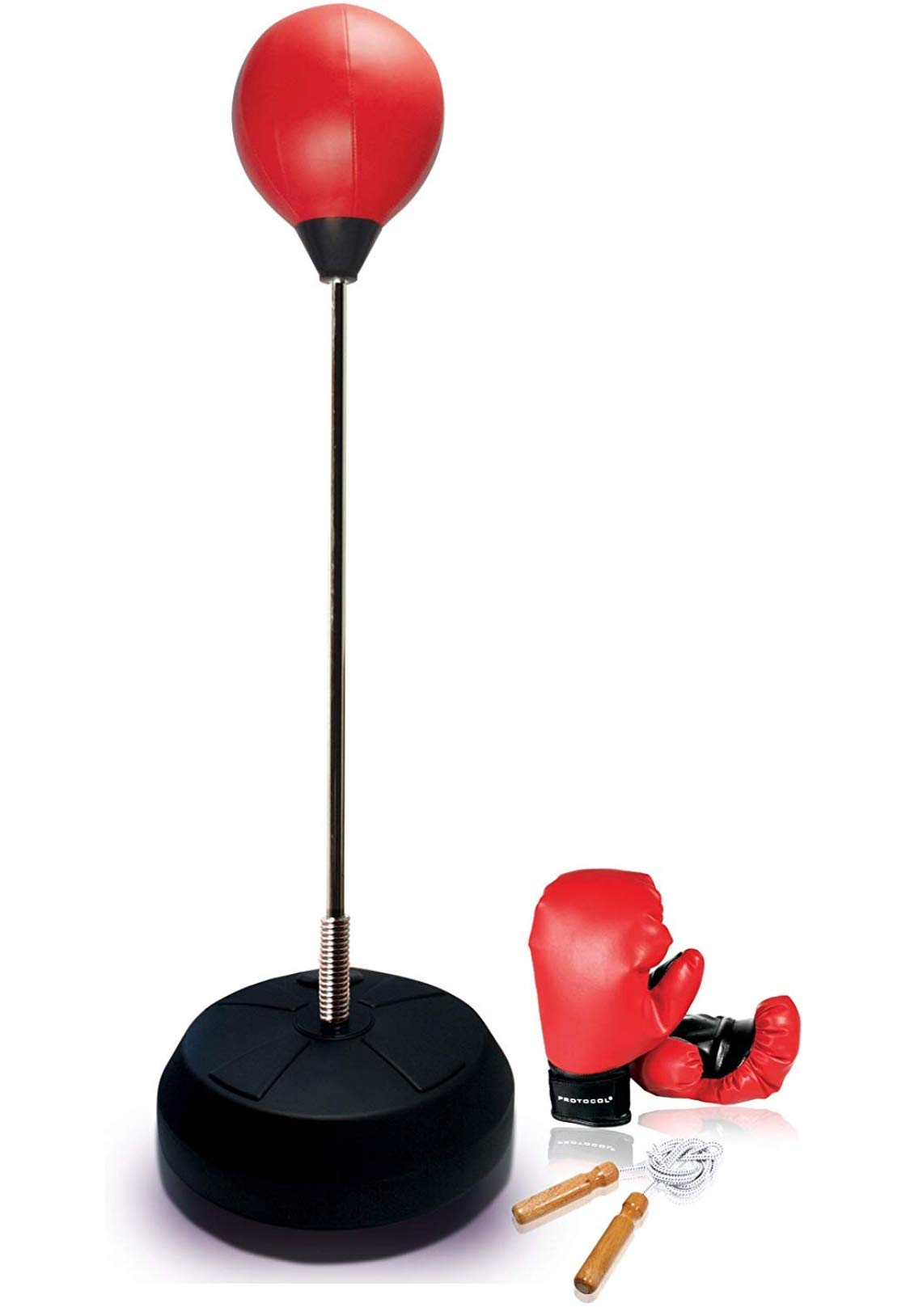 Protocol All-in-One Boxing Set | Punching Ball with Adjustable Height Stand That Withstands Tough Beatings| Includes Jump Rope, Comfortable Boxing Gloves, and Inflation Pump | Great Value by Protocol (Image #1)