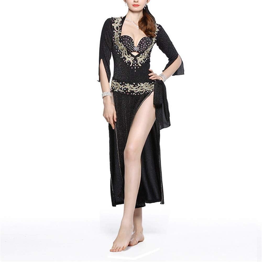 社交ダンスドレス 女性のセクシーなベリーダンスブラジャーベルトプロフェッショナルパフォーマンスダンススカートベリーダンス衣装オープン両面5ピース (色 : ブラック, サイズ : M) ブラック Medium