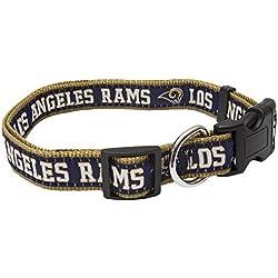 NFL perro collar. 32NFL equipos disponible en 4tamaños. Heavy-Duty, fuerte y durable Pet Collar. NFL fútbol Gear para el cachorro deportivo., Los Angeles Rams