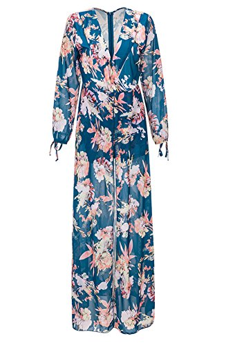 Women's Long Sleeves Floral Maxi Dress Overlay Rompers Jumpsuits Blue XXXL (Long Sleeve Plus Size Costume)