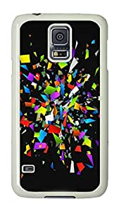 VUTTOO Rugged Samsung Galaxy S5 Case, Colorful Glass Shattered Pieces Customize Hard Back Case for Samsung Galaxy S5 I9600 PC White