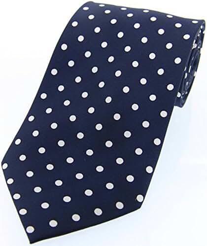Navy/White Polka Dot Silk Twill Tie by David Van Hagen