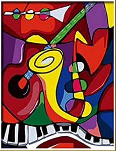 PaintingStudio Picasso Abstract Music instrument DIY Painting decorative oil picture canvas modern art 16x20 inch Frameless