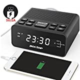 "FM Digital Alarm Clock Radio with Sleep Timer FM Radio, 2A USB Charging Port, 0.6"" Dimmer LED Display, Snooze and Battery Backup for Bedrooms, Tables"