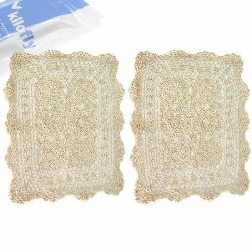 kilofly Handmade Crochet Cotton Lace Table Placemats, Set of 2, Beige